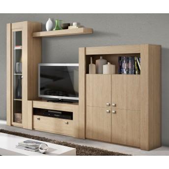 Mueble de salón diseño actual económico roble. (Vitrina opcional) 240 cm.