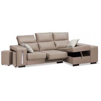 Sofá chaise longue Super Eko beige 240 cm.