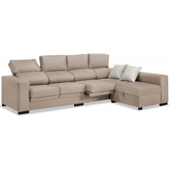 Sofá chaise longue 4 plazas beige 270 cm.