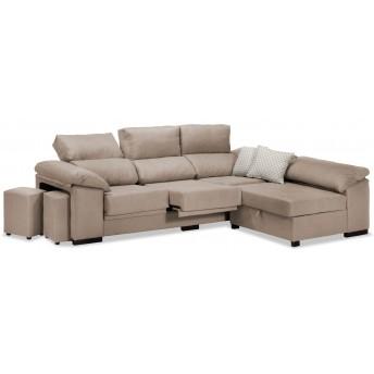 Sofá chaise longue Pepe beige 270 cm.
