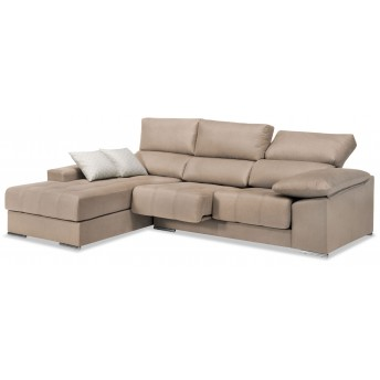 Sofá chaise longue reclinable extensible beige