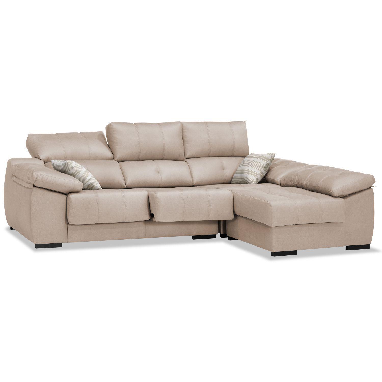 Sofá chaiselongue beige reclinable extensible 270 cm.