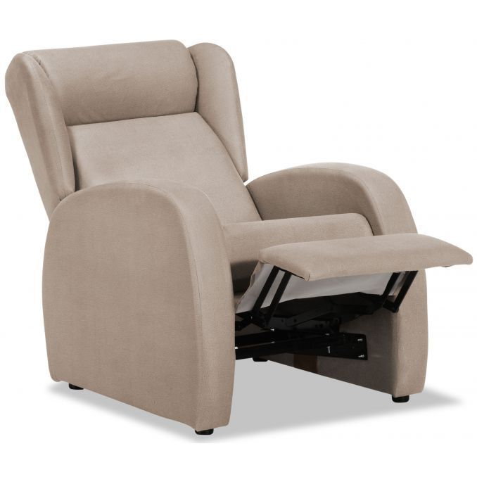 Sill n relax con reposapi s en tela color beige for Sillon relax con reposapies