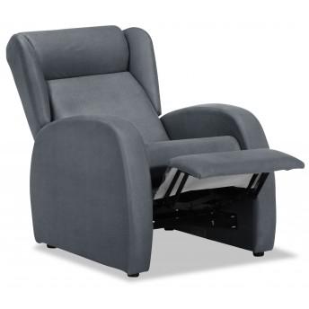 Sillón relax con reposapiés en tela color gris oscuro