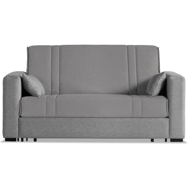 Sofá cama tapizado en loneta gris 170 cm.