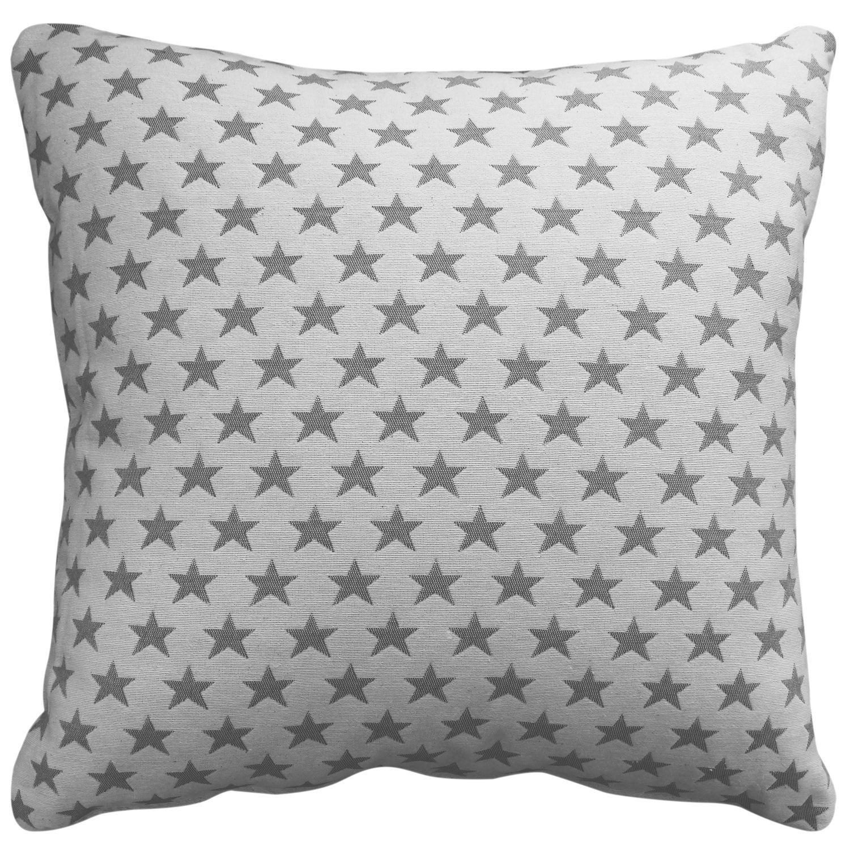 Cojín con relleno, estrellas gris y blanco 45x45 cm.