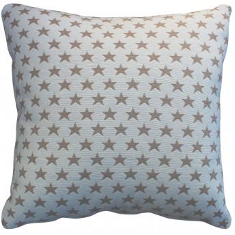Cojín con relleno, estrellas beige y blanco 45x45 cm.