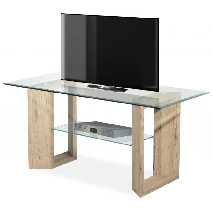 Mesa de TV buen precio color roble y cristal 100 cm Ancho moderno