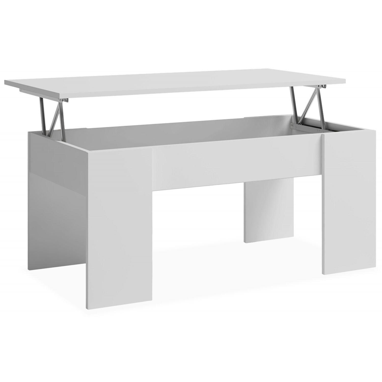 Mesa centro elevable blanco 100x50 cm.
