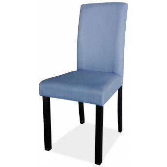 Silla buen precio azul y patas en wengué. (Va en cajas de 2 Unid.)