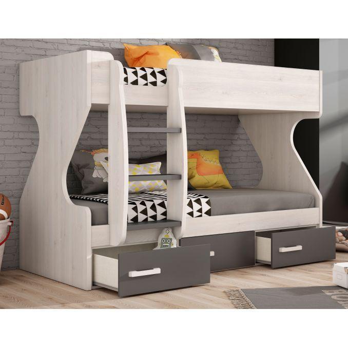 Litera buen precio diseño con dos camas y tres cajones. 202 cm.