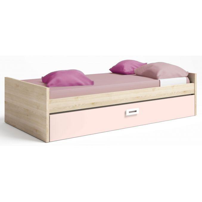 Cama nido en colores pino-rosa