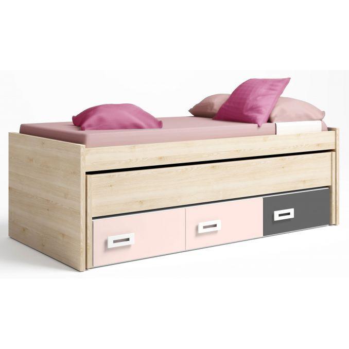 Cama compacta con dos camas y tres cajones en colores pino-rosa