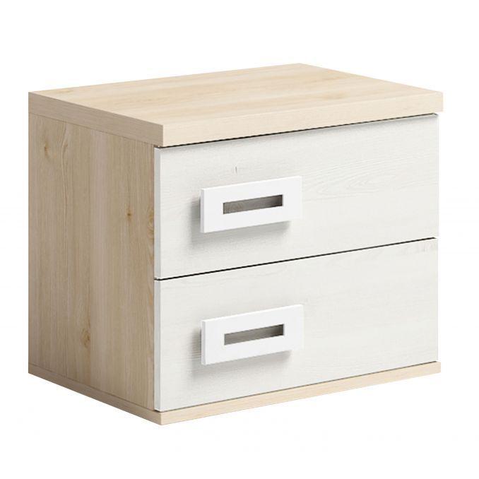 Mesita dos cajones dormitorio juvenil colores pino-blanco