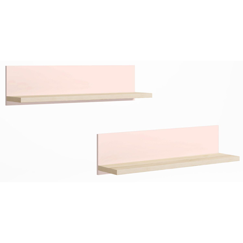 Juego de dos estanterías de colgar en colores pino-rosa