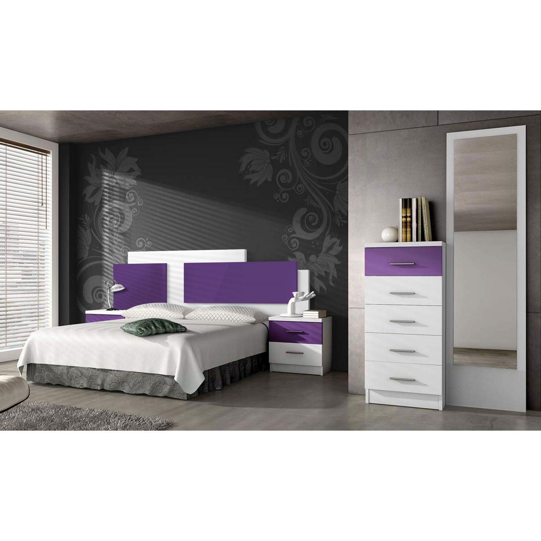 Dormitorio barato con cabecero y dos mesitas (Opcionales sinfonier y espejo)