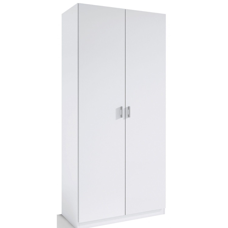 Armario 2 puertas abatibles barato color blanco 80 cm de for Armario puertas correderas 100 cm