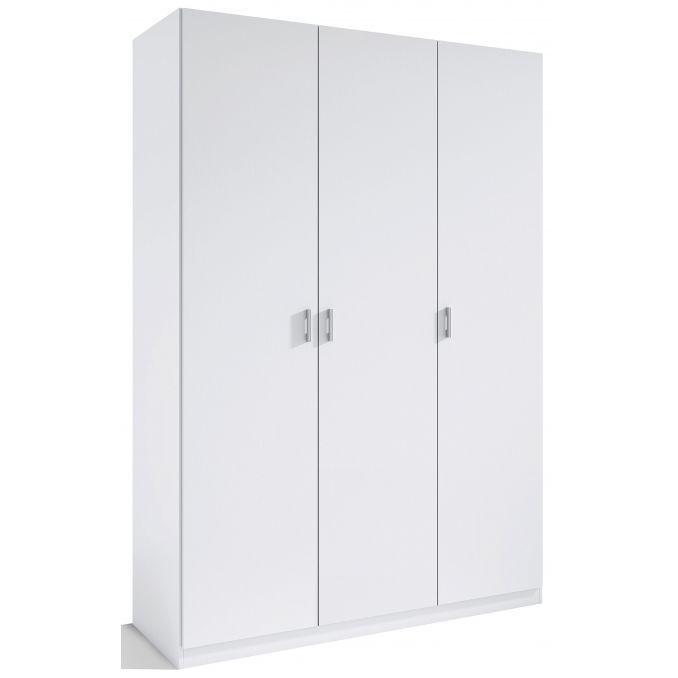 Armario 3 puertas abatibles barato color blanco 120 cm. de ancho.