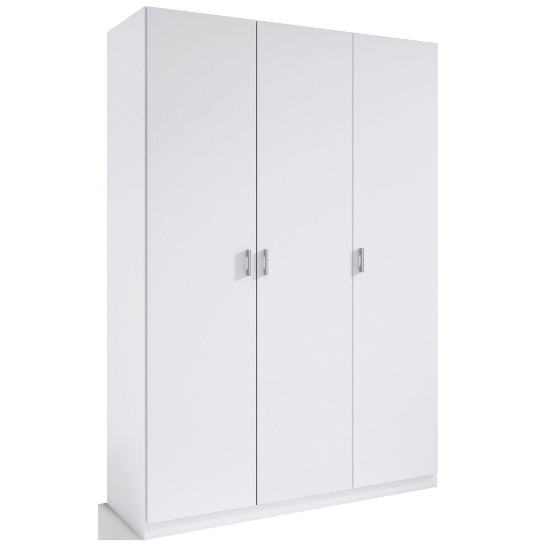Armario 3 puertas abatibles barato color blanco 120 cm de for Armario de dormitorio blanco barato