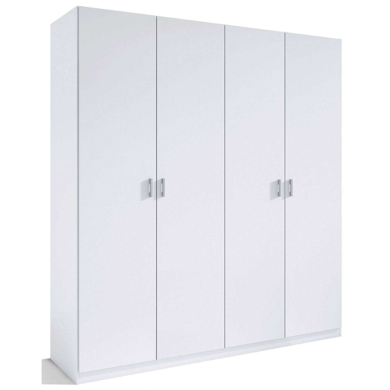 Armario 4 puertas abatibles barato color blanco 160 cm de for Armarios de madera baratos