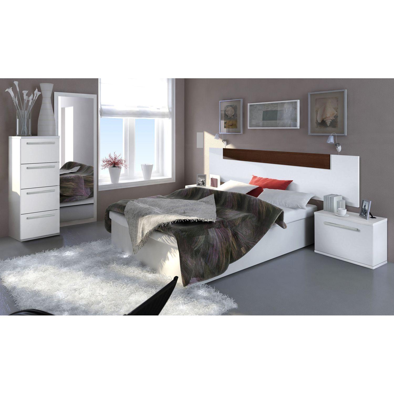Cabecero diseño moderno blanco wengué