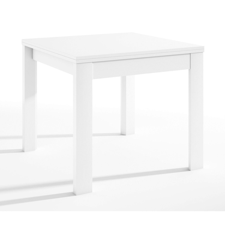 Mesa comedor extensible blanca 90x90