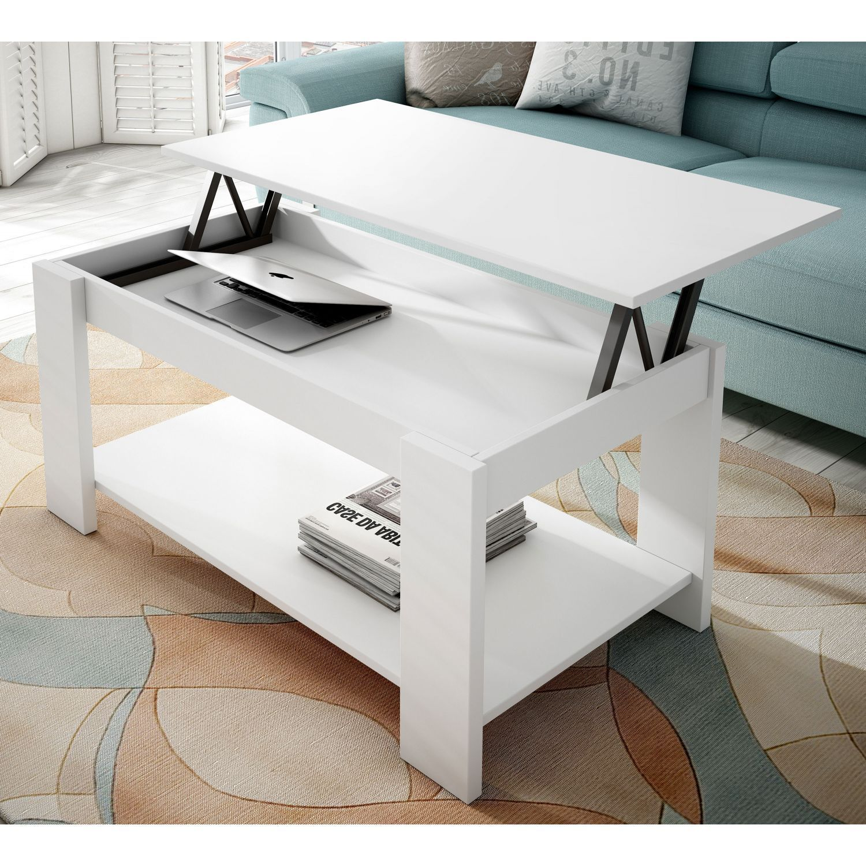 Mesa centro elevable blanca 101x55