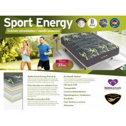 Colchón viscoelástico muelles ensacados Sport Energy 150x200 Altura 27 cm.