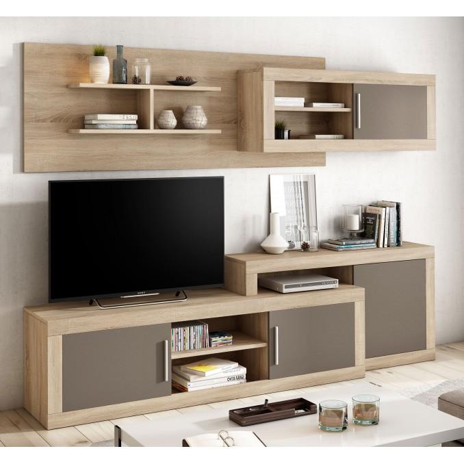 Mueble de salón Málaga Cambrian-Moka 245 cm.
