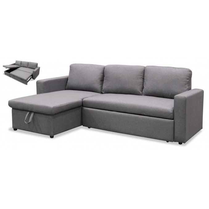 Sofá cama chaise longue Marbella gris 220 cm.